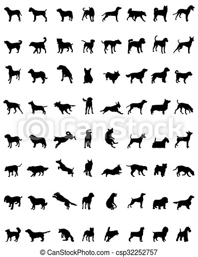 silhouettes of dogs - csp32252757