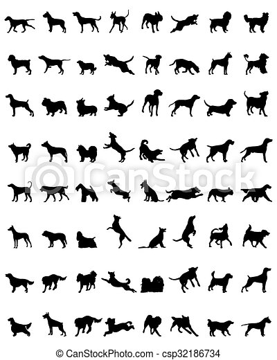 silhouettes of dogs - csp32186734