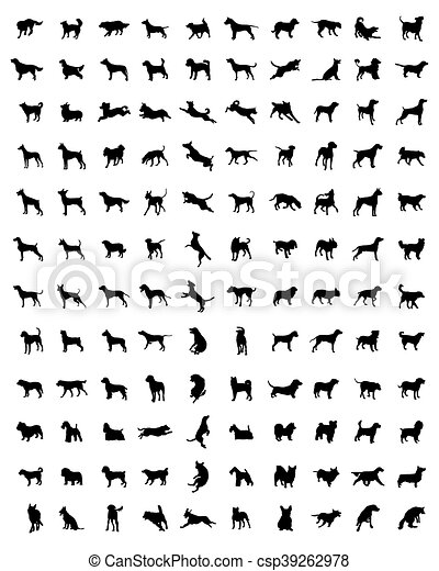 silhouettes of dogs - csp39262978