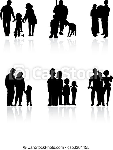 Silhouettes of family of black colour. A vector illustration - csp3384455