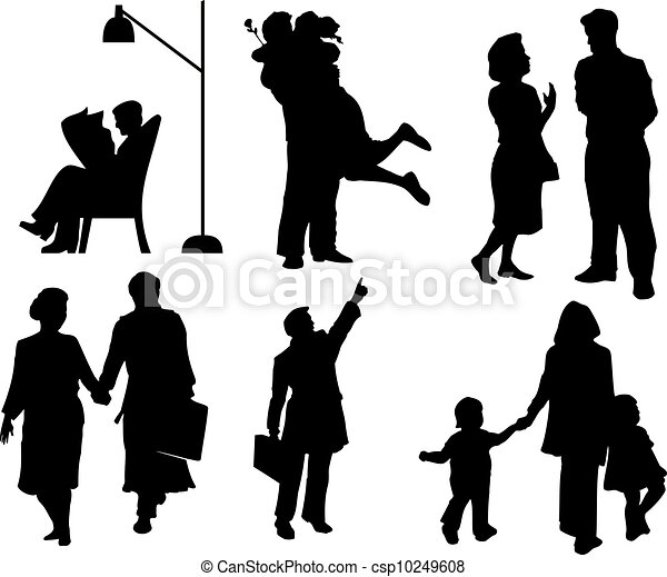 silhouettes of Family - csp10249608