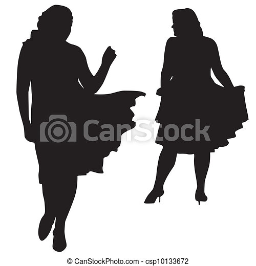 Silhouettes of fat women - csp10133672