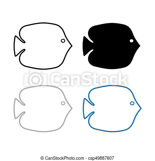 silhouettes of fish- vector illustration - csp49887607