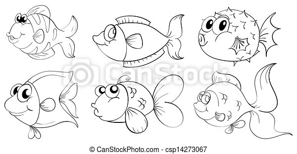 Silhouettes of fishes - csp14273067