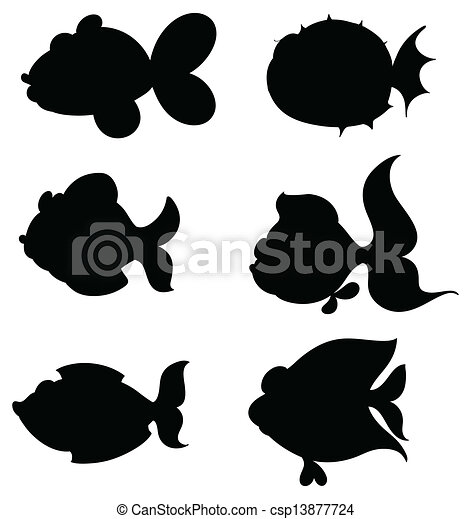 Silhouettes of fishes - csp13877724