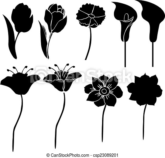 silhouettes of flowers vector 3 - csp23089201