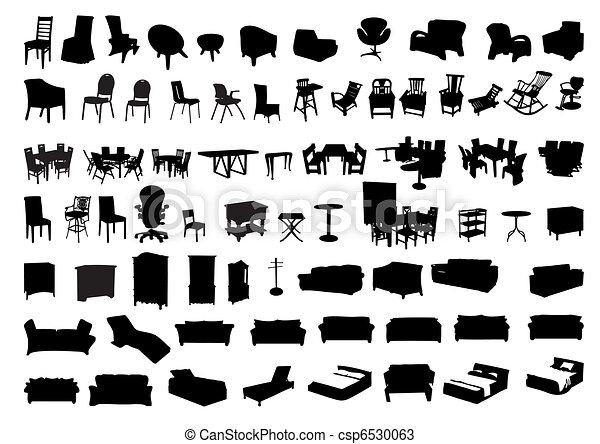 Silhouettes of furniture icon - csp6530063