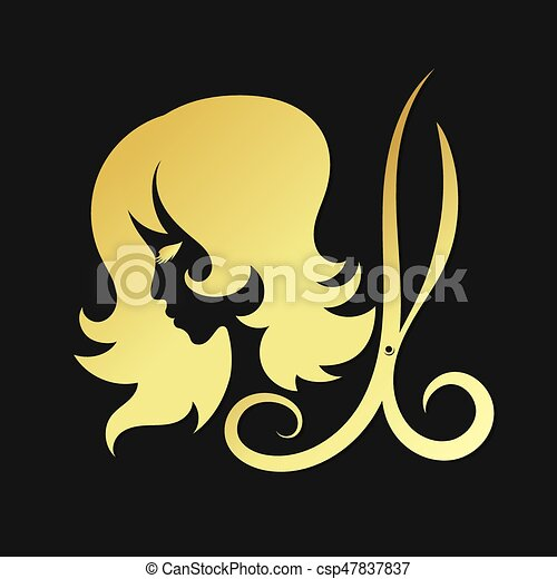 Silhouettes Of Girls And Scissors Of Gold Color A Symbol For Beauty
