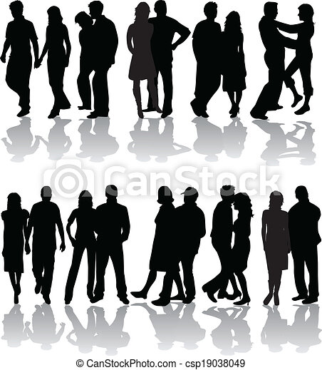 Silhouettes of group, vector work  - csp19038049