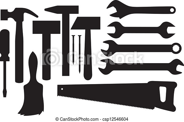 silhouettes of hand tools - csp12546604