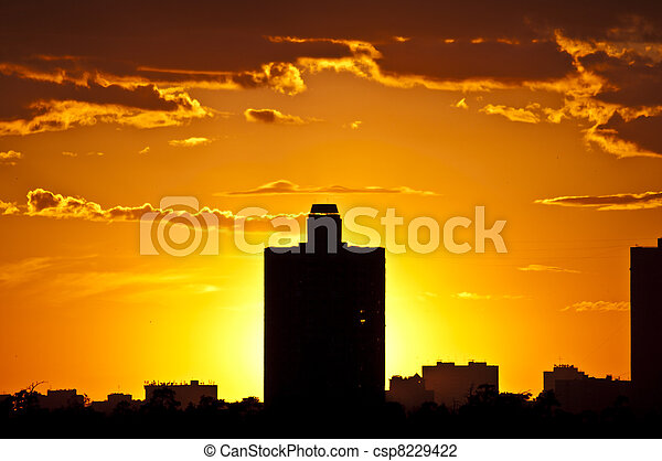 Silhouettes of houses in the Evening. Moscow - csp8229422