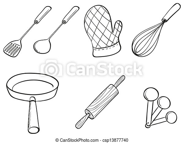 Illustration of the silhouettes of kitchen utensils on a eps