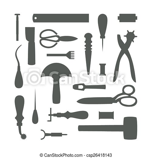 Silhouettes Of Leather Craft Tools Vector Illustration