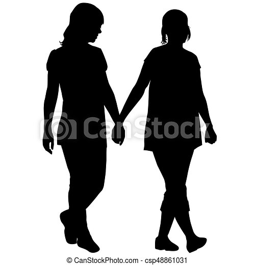 silhouettes of lesbian couple holding hands vector