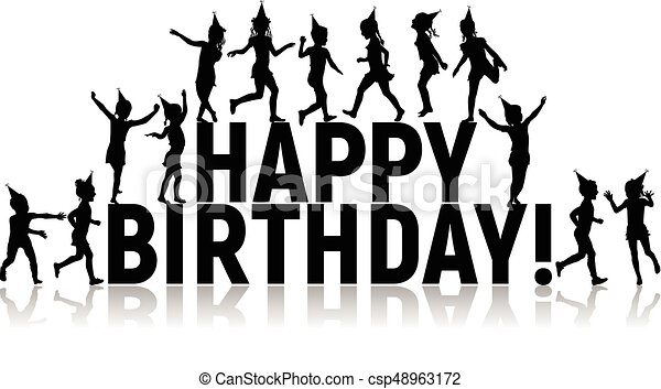 Silhouettes of letters children happy birthday - csp48963172