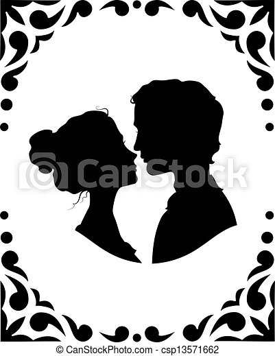 Black and white silhouettes of loving couple