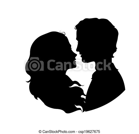 Silhouettes of loving couple - csp19627675