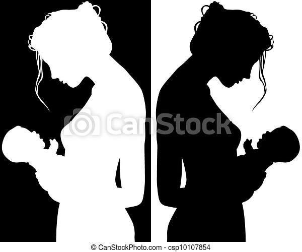 Silhouettes of mother and child csp10107854