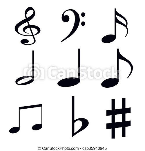 Silhouettes Of Musical Symbols On A White Background