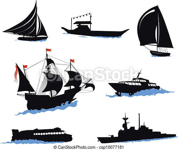Silhouettes of offshore ships - yac - csp10077181