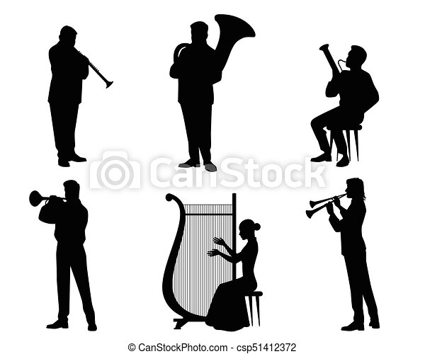silhouettes of orchestra musicians vector illustration of