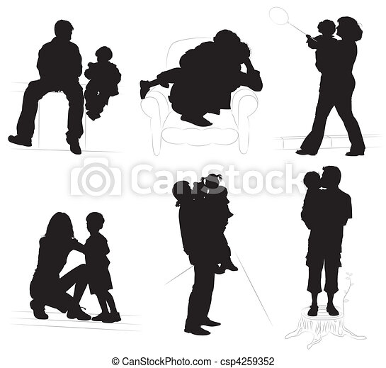 Silhouettes of parents with children - csp4259352