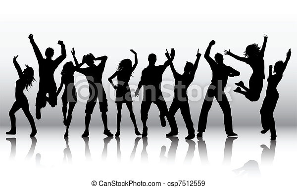 Silhouettes of people dancing - csp7512559
