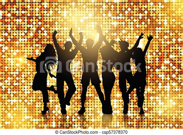 Silhouettes of people dancing on glittery gold background - csp57378370