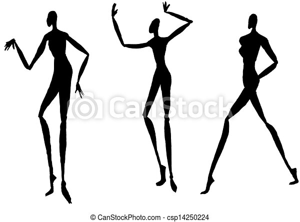 Sketch of fashion model - silhouettes of people moving.