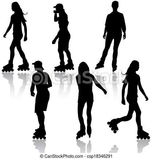 Silhouettes of people rollerskating. Vector illustration. - csp18346291