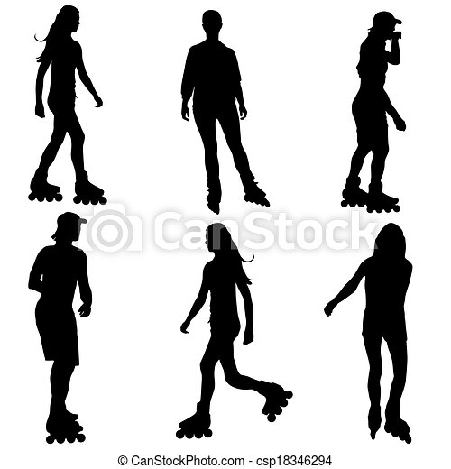 Silhouettes of people rollerskating. Vector illustration. - csp18346294