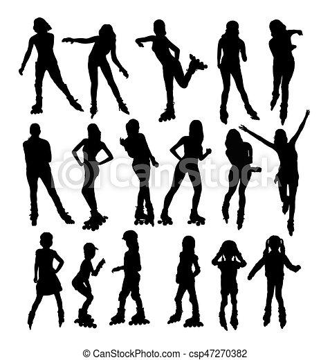 Silhouettes of People Rollerskating - csp47270382