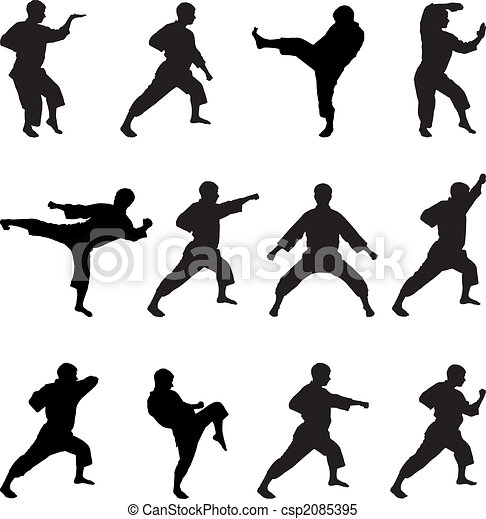 Silhouettes of positions of the karateka. - csp2085395
