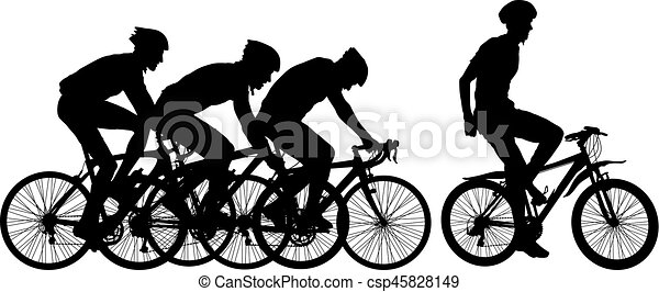 Silhouettes of racers on a bicycle, fight at the finish line - csp45828149