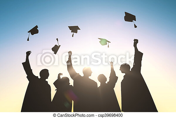 silhouettes of students throwing mortarboards - csp39698400