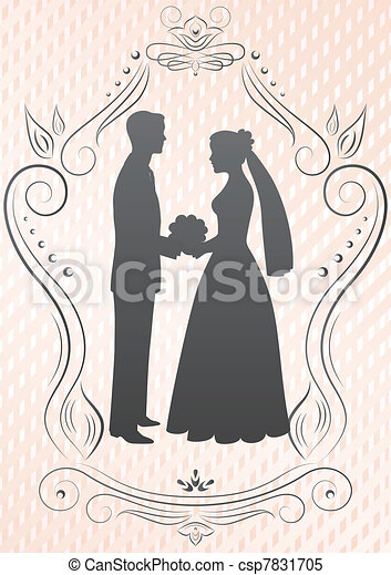 Silhouettes of the bride and groom - csp7831705