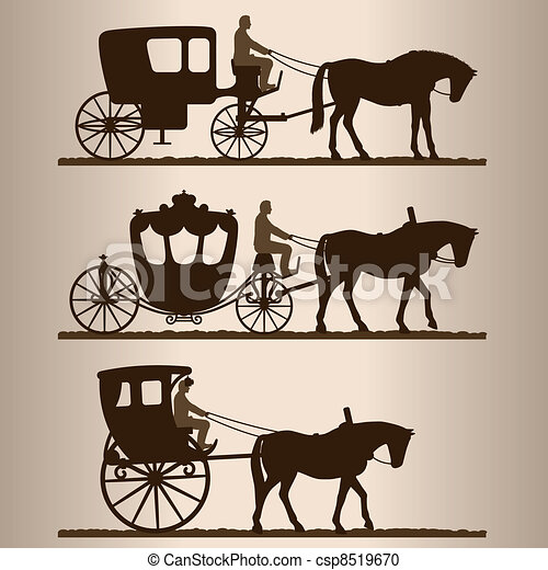Silhouettes of the carriages - csp8519670