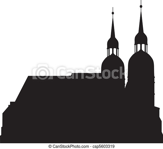 Silhouettes of the church - csp5603319