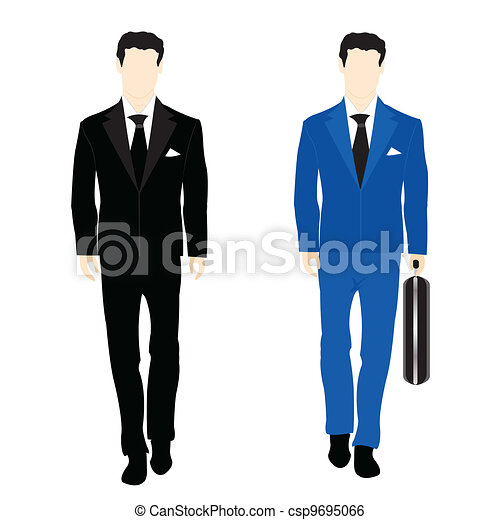 Silhouettes of the people in business suit - csp9695066