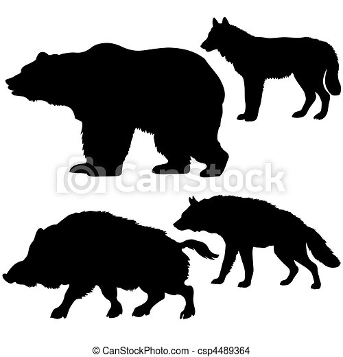 silhouettes of the wild boar, bear, wolf, hyena on white background - csp4489364