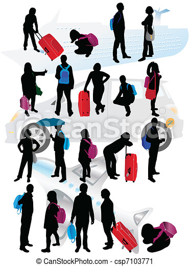 silhouettes of traveling people vector clip art search rh canstockphoto com travel clipart traveling clipart free