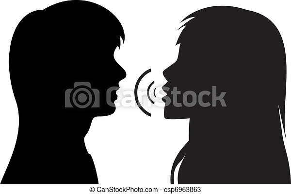 Silhouettes of two young talking women. Vector silhouettes ...