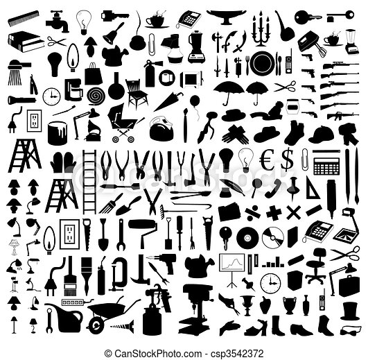 Silhouettes of various subjects and tools. A vector illustration - csp3542372