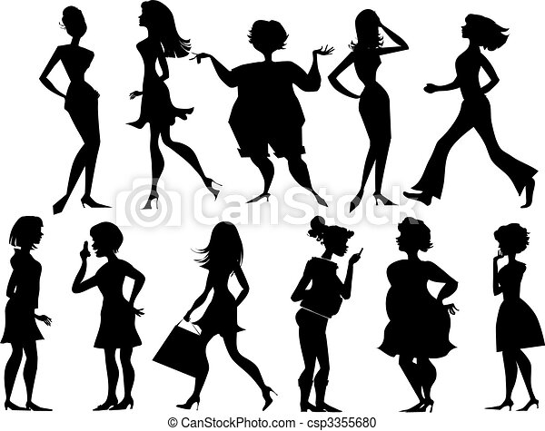 Silhouettes of women - csp3355680
