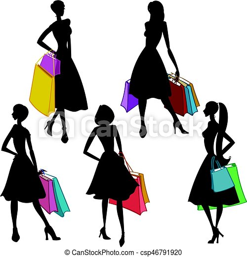 silhouettes of women with shopping bags vector vector rh canstockphoto com black woman shopping clipart african american woman shopping clipart