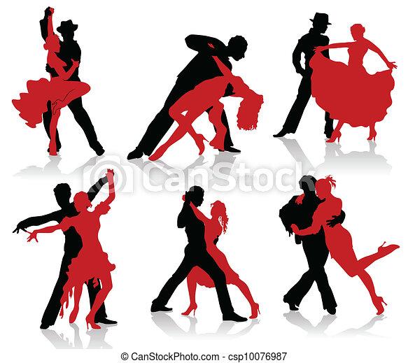 silhouettes, paren, ba, dancing - csp10076987