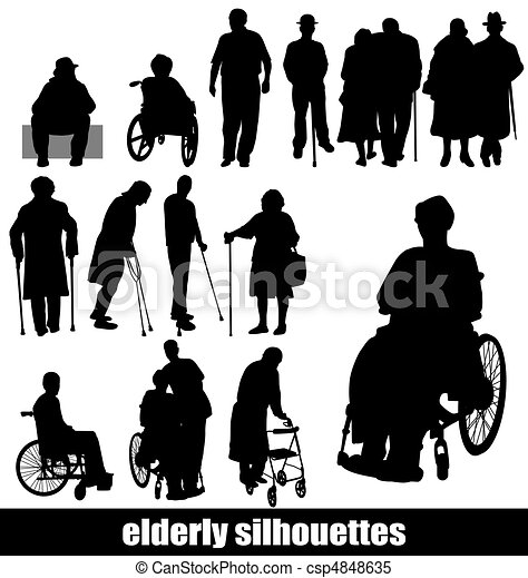 silhouettes, personnes agées - csp4848635