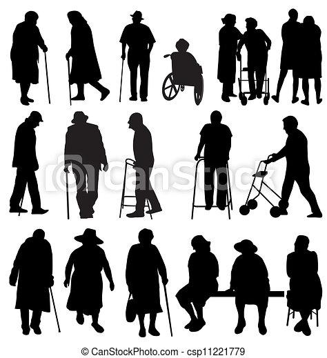 silhouettes, personnes agées - csp11221779