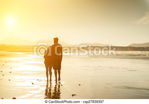 silhouettes, plage, couple - csp27839397