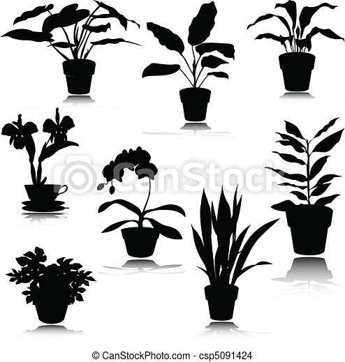 silhouettes, potted, vector, bloem - csp5091424